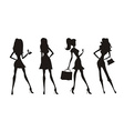 fashion shopping girls silhouettes vector image