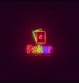 poker neon sign vintage signboard vector image