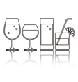 Wine Beer Cocktail and Water Gla vector image
