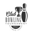 bowling club tournament ultimate league vintage vector image vector image