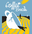 the plot about broken cup of coffee and a person vector image vector image