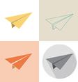 Paper plane in four design vector image