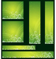 green christmas banners with snowflakes vector image