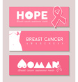 Breast cancer banner set with girl body silhouette vector image