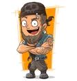 Cartoon muscular biker in bandanna vector image