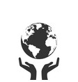 hands holding globe earth web black icon save vector image