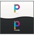 letter P logo alphabet mosaic icon set background vector image
