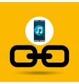 Smartphone music online link vector image