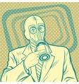 Pop art retro man in gas mask pointing sideways vector image