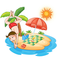 A boy diving at the beach vector image vector image