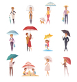 People Standing Under Umbrella vector image