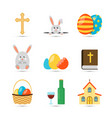 easter flat icons vector image