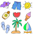 summer object doodles vector image