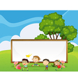 Kids playing in front of the big empty signboard vector image