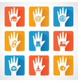 Web icons and design with helping hand vector image