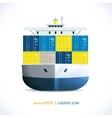 Logistic icon container ship vector image