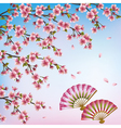 Decorative background with sakura japanese cherry vector image