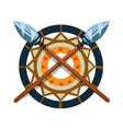 decorative item with crossed spears native vector image
