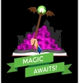 Fantasy Book with Magic Staff vector image