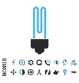 Fluorescent Bulb Flat Icon With Bonus vector image