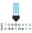 Fluorescent Bulb Flat Icon With Bonus vector image