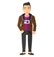 Man with camera on chest vector image