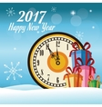 happy new year 2017 greeting card clock over snow vector image