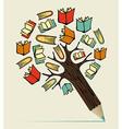 Reading education concept pencil tree vector image vector image