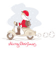Santa on a scooter vector image