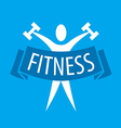 Abstract logo for fitness clubs on a blue vector image