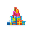 big mountain of bright colorful wrapped gift boxe vector image