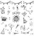 Birthday set doodle art collection vector image