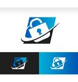 Swoosh Security Lock Icon vector image
