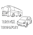 Hand drawn transport set Bus and car vector image