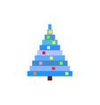 pixel art christmas tree blue pine vector image