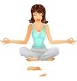 Beautiful brunette girl in meditation position vector image