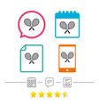 tennis rackets sign icon sport symbol vector image