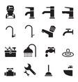 plumbing tools icons set vector image