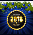 2018 year golden figures on a spruce branch vector image