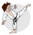 cartoon man in a kimono with a black belt vector image