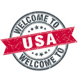 welcome to usa red round vintage stamp vector image