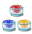 Red blue and yellow balls in glass cups vector image