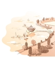 sepia linear landscape with quay and boats vector image