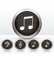 Set buttons with music note icon vector image