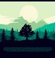silhouette of forest mountains and clouds vector image