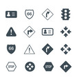 Driving and road signs flat and outline icons set vector image