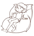 A lazy young girl vector image