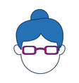 avatar female face wear fuchsia glasses vector image