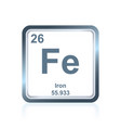 chemical element iron from the periodic table vector image