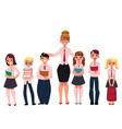 Female teacher standing with students pupils vector image